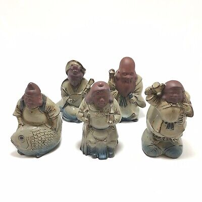 Set of 5 Chinese Oriental Wise Men Immortals Deity Clay Ceramic Figurine Statues