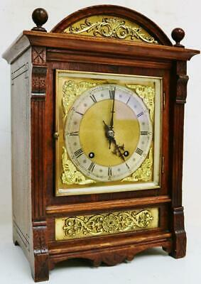Antique German Carved Oak & Bronze Mounts 8 Day Gong Striking Bracket Clock