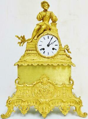 Antique French Empire Style Bronze Ormolu 8 Day Bell Striking Mantel Clock