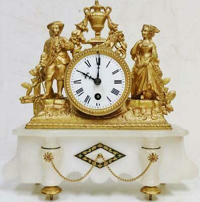Antique 19thC French 8Day Gilt Metal & alabaster Figurine Timepiece Mantel Clock