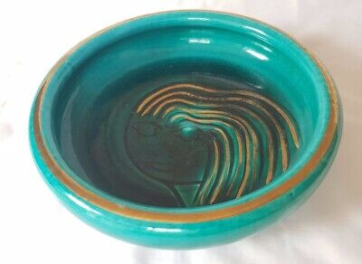 French Accolay Mid Century Modern Bowl. Turquoise Glaze Effects Circa 50'S-60'S