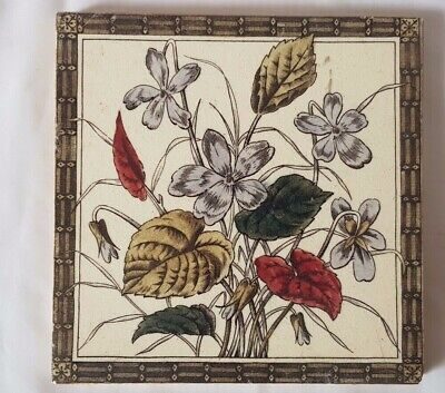 Beautiful Victorian Arts And Crafts Style  Floral Design Tile