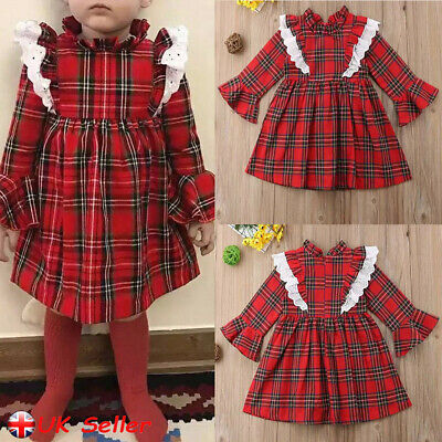 Toddler Girls Dress Kids Ruffle Long Sleeve Plaid Dresses Party Wedding Outfits