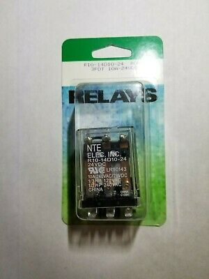 NEW NTE R10-14D10-24 24 Volt DC Coil, 10 Amp 3PDT General Purpose Relay
