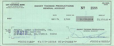 Danny Thomas 1974 Signed Check To Beverly Hills Management Agency