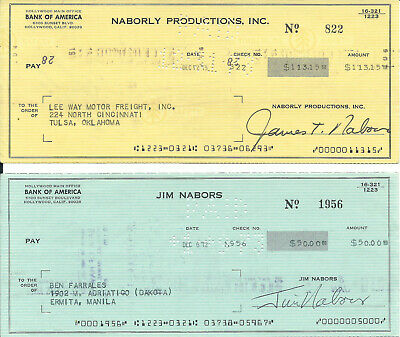 Jim Nabors Gomer Pyle Lot Of 2 Signed Checks Andy Griffith Show