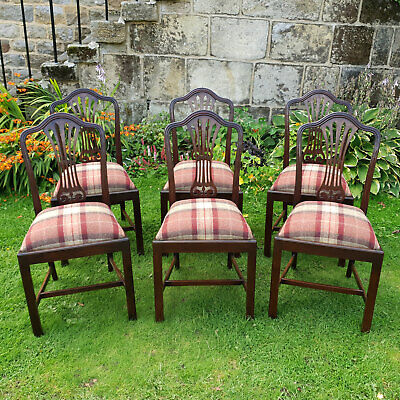 George III Hepplewhite Style Set of 6 Mahogany Dining Chairs Late C19th