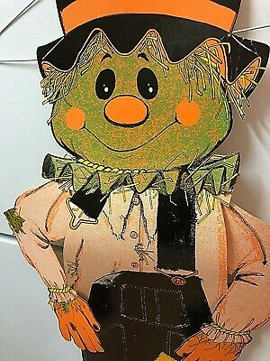 "Vtg Halloween Cardboard Cut Out Decoration jointed Pumpkin Scarecrow 34"" Tall"