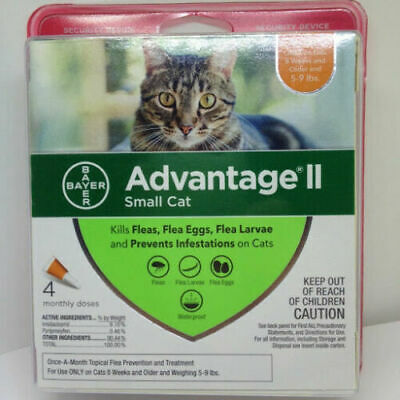 New Bayer Advantage Ii Flea Control Treatment For Small Cats 5 To 9 Lbs / 4 Dose