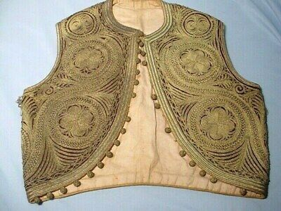 Antique Ottoman Turkish Vest Fully Embroidered Gold Metal MetallicThread