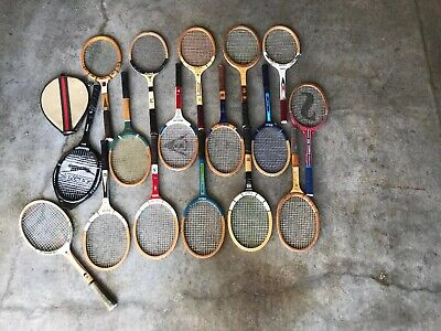 Vintage Wooden Tennis Racquets - Lot of 17