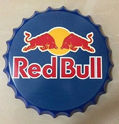 Red Bull Tin Bottle Cap Sign Man Cave Bar Office Vintage Pub 14 inch