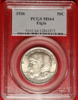 1936 Elgin 50C Pcgs Ms 64 Gem Uncirculated Commemorative Silver Half Dollar Coin