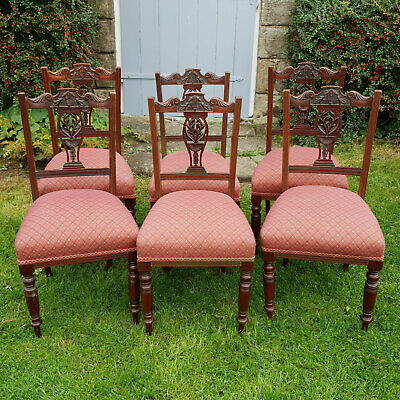 Edwardian Carved & Pierced Back Walnut Set of 6 Dining Chairs C1905