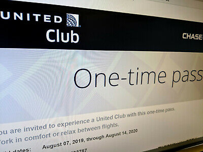 (2)Two United Airlines Club One-Time Passes Expire 8/14/2020 Free E-Delivery!