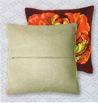 ZIPPED CUSHION BACK for 16 x 16 ins CROSS STITCH + LATCH HOOK KIT by CDA, UK New