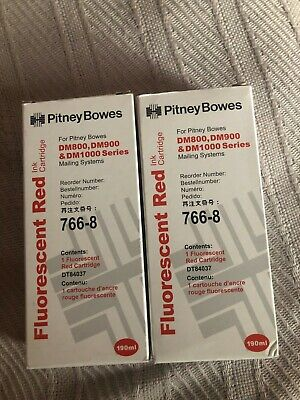BRAND NEW Pitney Bowes 766-8 Florescent Red Ink Cartridge (2 UNITS)
