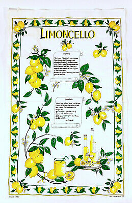 Limoncello Recipe on Kitchen Towel Dishcloth Nice and New Summer Sunshine