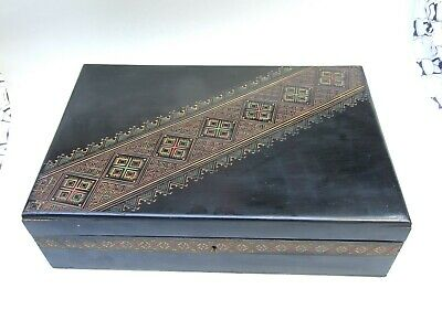 Antique  Asian Carved Wood Jewellery Trinket Box Hand Engraved Vintage