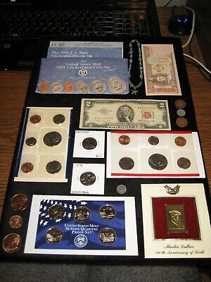 Junk Drawer Coin Lot Red Seal Bill Proof Coins 1991 Mint Set Copper Quarters