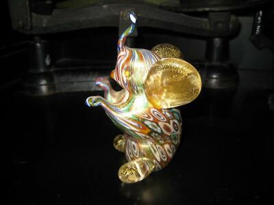 "4.5"" Tall Bucella Cristalli  Murano Art Glass Millefiori Elephant Sculpture"