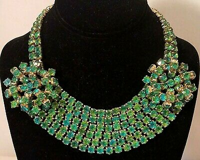 Vintage Art Deco Choker Bib Necklace Loaded with Blue Green Rhinestones~Austria?