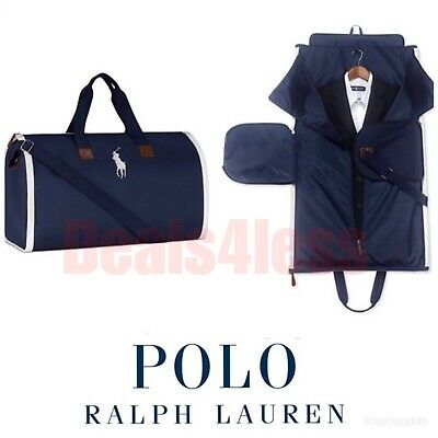 POLO RALPH LAUREN Zip-Up DUFFLE GARMENT Bag NAVY 2-in-1 DUFFEL Carry-On NWT
