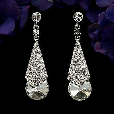 Rhodium Plated Clear Crystal Wedding Bridal Chandelier Drop Dangle Earrings 7907