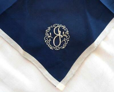 Vintage Navy Blue Madeira Embroidered Hanky Monogram G Unused Wedding