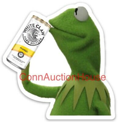 White Claw Hard Seltzer Sticker Kermit The Frog Sipping A Claw