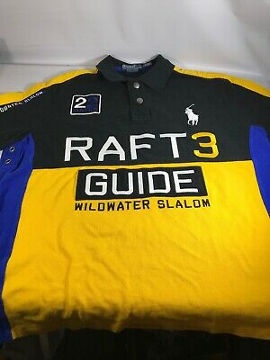 Ralph Lauren Mens Raft Guide Wildwater Slalom Custom Fit Polo Shirt Size Large L