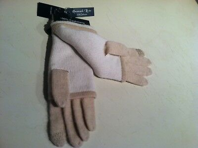 NEW Hannah Rose Tan 100% Cashmere Gloves 3 in1 Convertible Smart Phone Texting