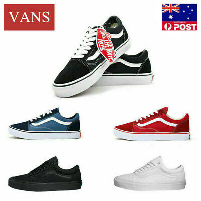 VAN Old Skool Skate Shoes Black/White All Size Classic Canvas Sneakers UK3-9.5