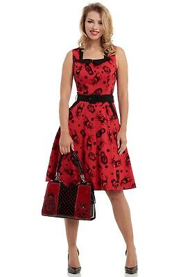 Voodoo Vixen Mid Century Scarlet Red Black Nesting Dolls Viva Flare Dress L