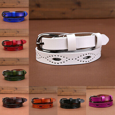 Leather Belts Adjustable Belt Sweetness Women Candy Color Thin Skinny Waistband