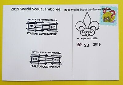 24th world scout jamboree 2019  Postmark on USPS official postcard and ITALY