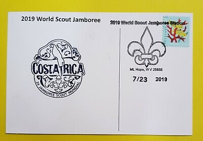 24th world scout jamboree 2019  Postmark on USPS official postcard  COSTA RICA