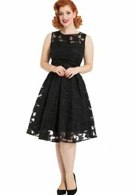 Voodoo Vixen Mid Century Noir Evelyn Black Sweetheart Mesh Lace Flare Dress S