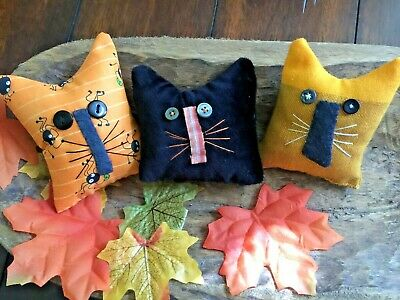 Primitive   Old Home Cats Bowl Fillers Set of 3  Autumn Halloween