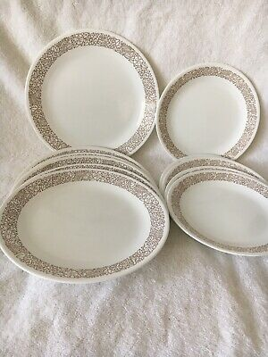 Vtg WOODLAND BROWN CORELLE By CORNING 6 Dinner And 5 Luncheon Salad Plates