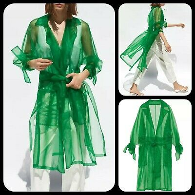 Women Green Sexy Sheer Long Sleeve Organza Loose Bow Tie Front Trench Coat M