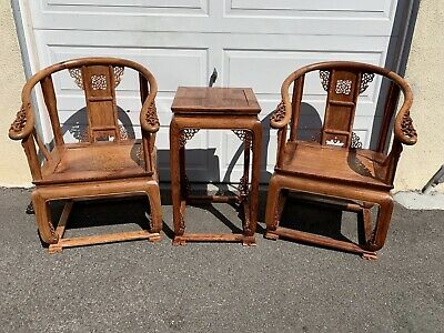 Chinese Huanghuali Pair armchairs and Side Table, 20th Century