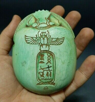 RARE ANCIENT EGYPTIAN ANTIQUES Scarab Beetle Khepri Egypt Carved Stone 1299 BC