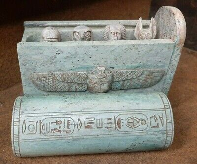 Rare ANCIENT EGYPTIAN Amarna CANOPIC JARS Box Winged Scarab With Hieroglyphics