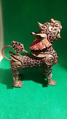 ANTIQUE CHINESE gem STONE coral ENCRUSTED BRASS FU FOO DOG Lion asian Inscent