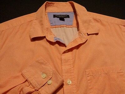 Banana Republic Mens Medium Long Sleeve Button-Front Orange Geometric Shirt