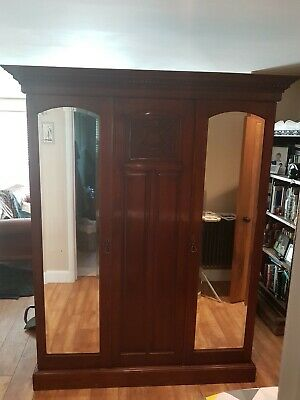 Antique Edwardian Inlaid Mahogany Wardrobe with 2 Mirrored Doors