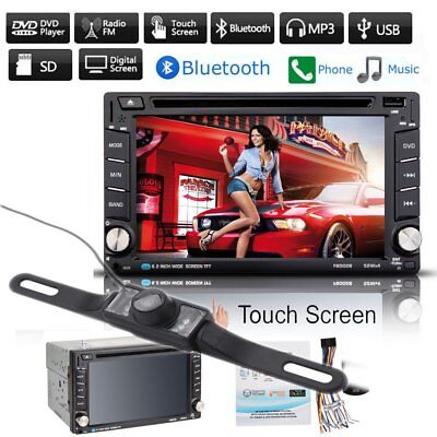 "Double 2 DIN 6.2"" HD Car Stereo DVD VCD CD Player GPS Nav Bluetooth Camera AD"