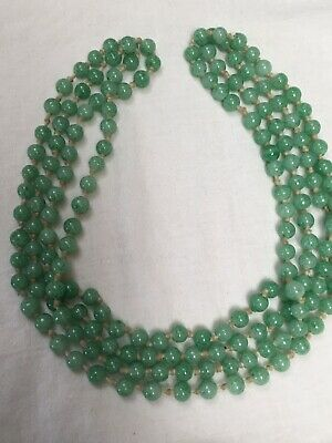 Antique Art Deco 1920s v. long peking fancy green glass faux jade bead necklace