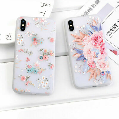For Apple iPhone XS Max X XR 7P Soft TPU Fashion Frosted Flower Women Case Cover